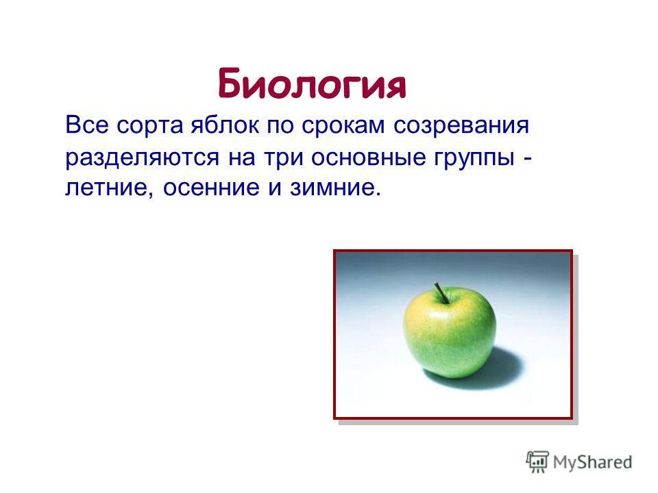 14 из 20 Биология Все сорта яблок по срокам созревания разделяются на три основные группы - летние, осенние и зимние.
