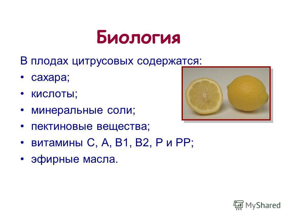 15 из 20 В плодах цитрусовых содержатся: сахара; кислоты; минеральные соли; пектиновые вещества; витамины C, A, B1, B2, P и PP; эфирные масла. Биология