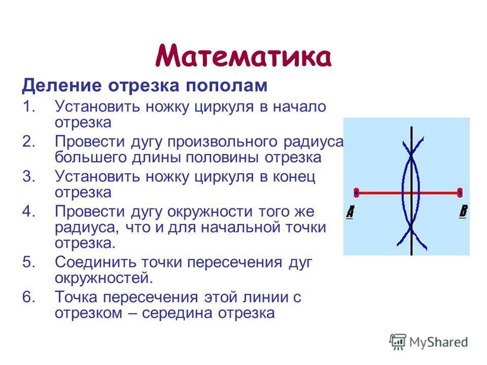 22 из 20 Математика Деление отрезка пополам 1. Установить ножку циркуля в начало отрезка 2. Провести дугу произвольного радиуса, большего длины половины отрезка 3. Установить ножку циркуля в конец отрезка 4. Провести дугу окружности того же радиуса,