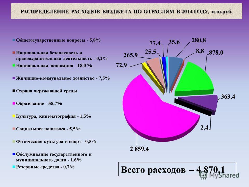 РАСПРЕДЕЛЕНИЕ РАСХОДОВ БЮДЖЕТА ПО ОТРАСЛЯМ В 2014 ГОДУ, млн.руб.