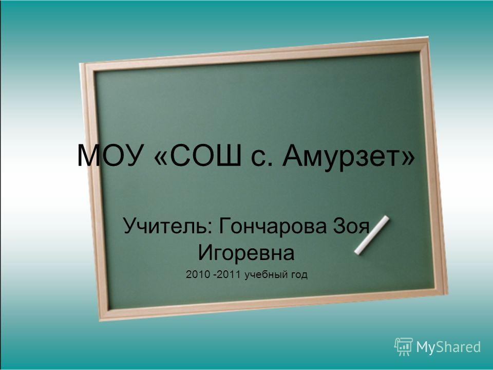 МОУ «СОШ с. Амурзет» Учитель: Гончарова Зоя Игоревна 2010 -2011 учебный год