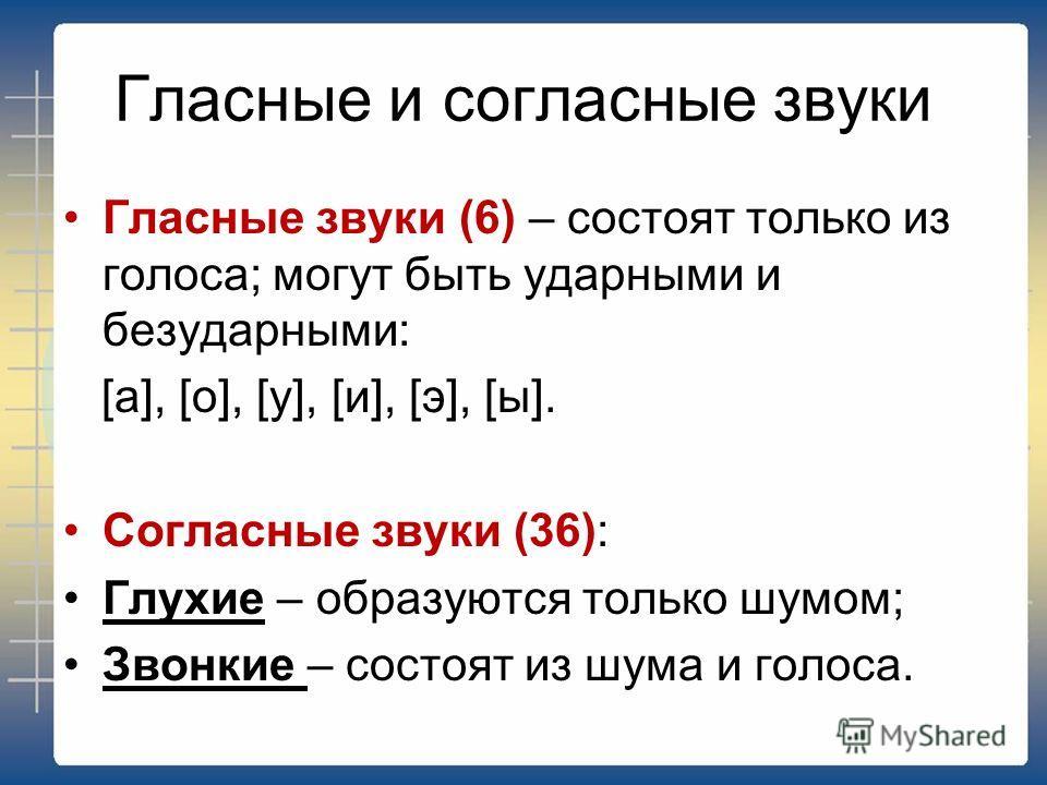 Гласные и согласные звуки Гласные звуки (6) – состоят только из голоса; могут быть ударными и безударными: [а], [о], [у], [и], [э], [ы]. Согласные звуки (36): Глухие – образуются только шумом; Звонкие – состоят из шума и голоса.