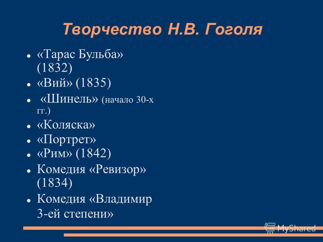 Творчество Н.В. Гоголя «Тарас Бульба» (1832) «Вий» (1835) «Шинель» (начало 30-х гг.) «Коляска» «Портрет» «Рим» (1842) Комедия «Ревизор» (1834) Комедия «Владимир 3-ей степени»