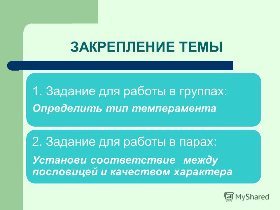ЗАКРЕПЛЕНИЕ ТЕМЫ 1. Задание для работы в группах: Определить тип темперамента 2. Задание для работы в парах: Установи соответствие между пословицей и качеством характера