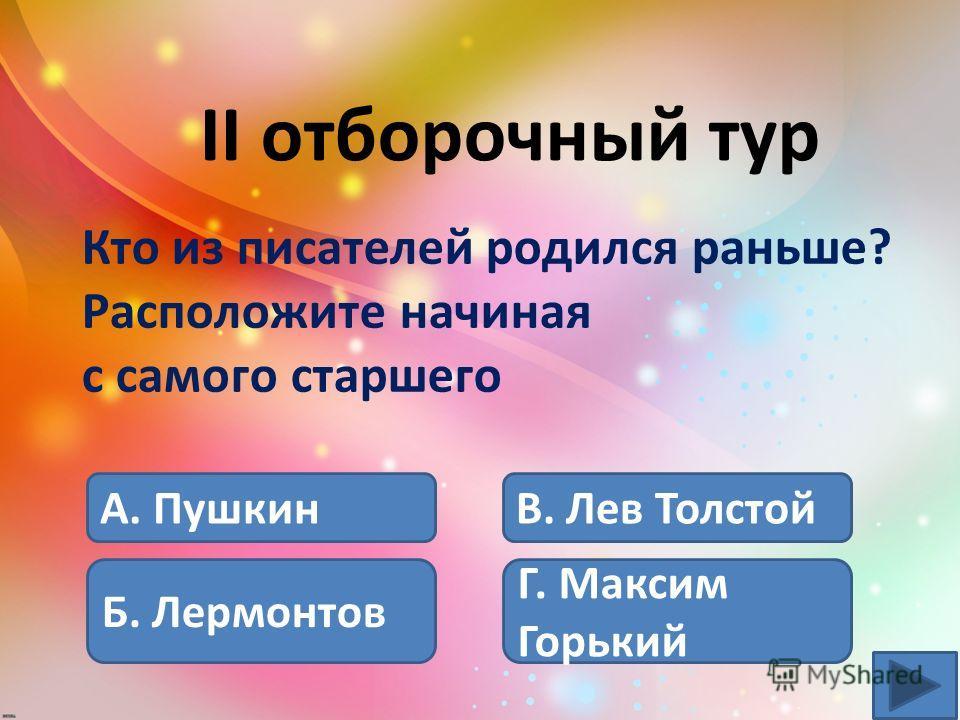 А. Лев Толстой Б. Максим Горький В. Лермонтов Г. Пушкин II отборочный тур Кто из писателей родился раньше? Расположите начиная с самого старшего.