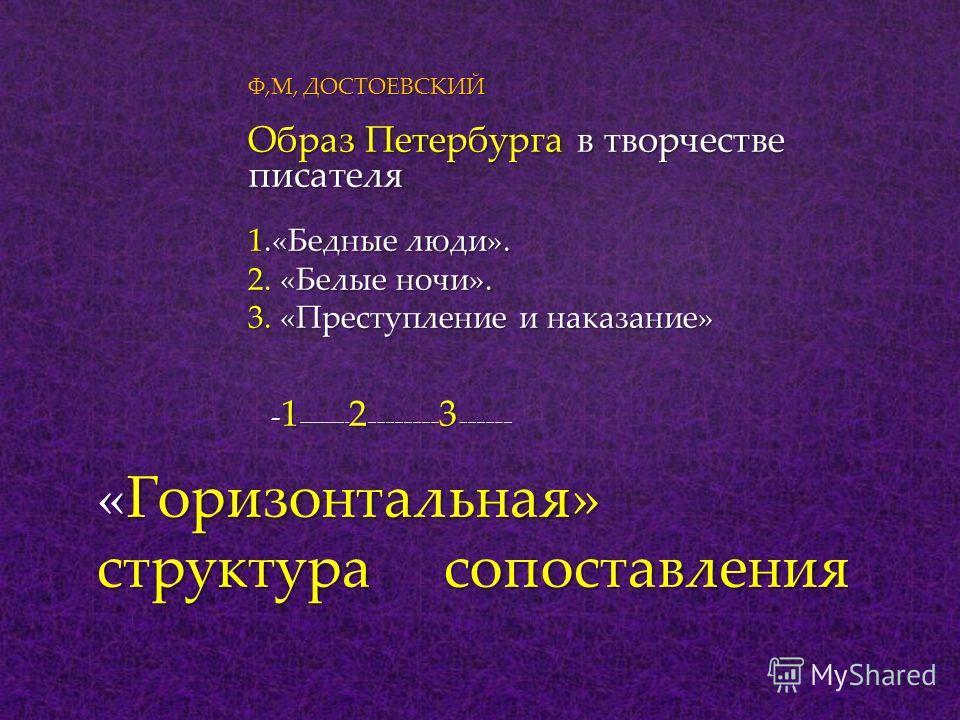 Ф,М, ДОСТОЕВСКИЙ Образ Петербурга в творчестве писателя 1.«Бедные люди». 2. «Белые ночи». 3. «Преступление и наказание» - 1 ------------ 2 ---------------- 3 ------------ - 1 ------------ 2 ---------------- 3 ------------ «Горизонтальная» структура с