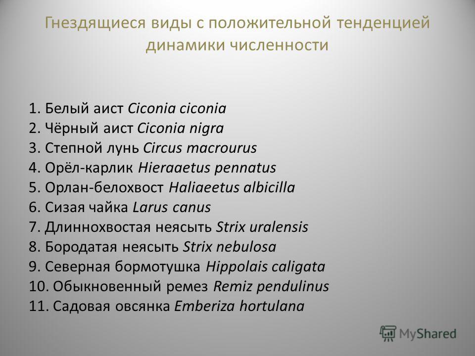 Гнездящиеся виды с положительной тенденцией динамики численности 1. Белый аист Ciconia ciconia 2. Чёрный аист Ciconia nigra 3. Степной лунь Circus macrourus 4. Орёл-карлик Hieraaetus pennatus 5. Орлан-белохвост Haliaeetus albicilla 6. Сизая чайка Lar