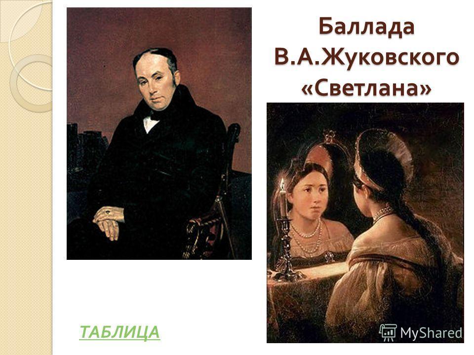 Баллада В. А. Жуковского « Светлана » ТАБЛИЦА