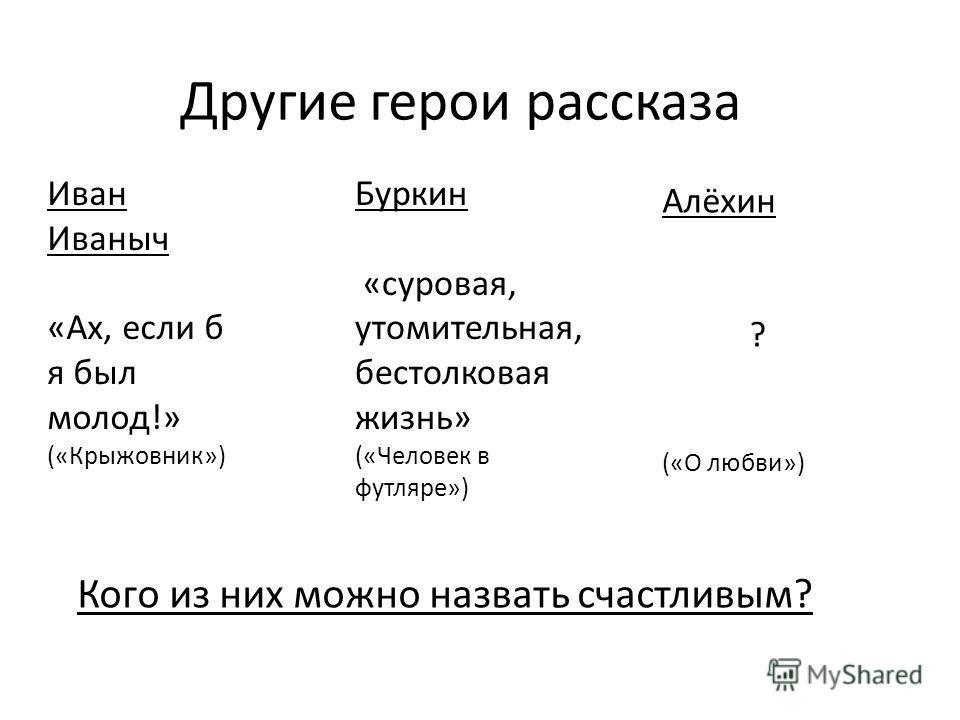 Другие герои рассказа Кого из них можно назвать счастливым? Иван Иваныч «Ах, если б я был молод!» («Крыжовник») Буркин «суровая, утомительная, бестолковая жизнь» («Человек в футляре») Алёхин ? («О любви»)