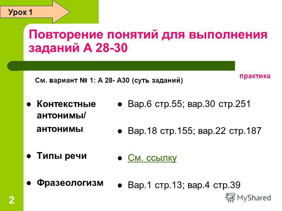 2 Повторение понятий для выполнения заданий А 28-30 Контекстные антонимы/ антонимы Типы речи Фразеологизм Вар.6 стр.55; вар.30 стр.251 Вар.18 стр.155; вар.22 стр.187 См. ссылку Вар.1 стр.13; вар.4 стр.39 Урок 1 См. вариант 1: А 28- А30 (суть заданий)