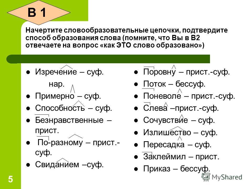 5 Начертите словообразовательные цепочки, подтвердите способ образования слова (помните, что Вы в В2 отвечаете на вопрос «как ЭТО слово образовано») Изречение – суф. нар. Примерно – суф. Способность – суф. Безнравственные – прист. По-разному – прист.