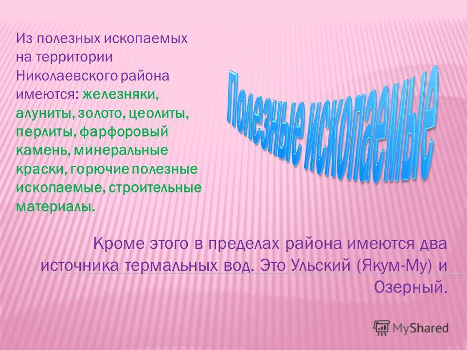 Кроме этого в пределах района имеются два источника термальных вод. Это Ульский (Якум-Му) и Озерный. Из полезных ископаемых на территории Николаевского района имеются: железняки, алуниты, золото, цеолиты, перлиты, фарфоровый камень, минеральные краск
