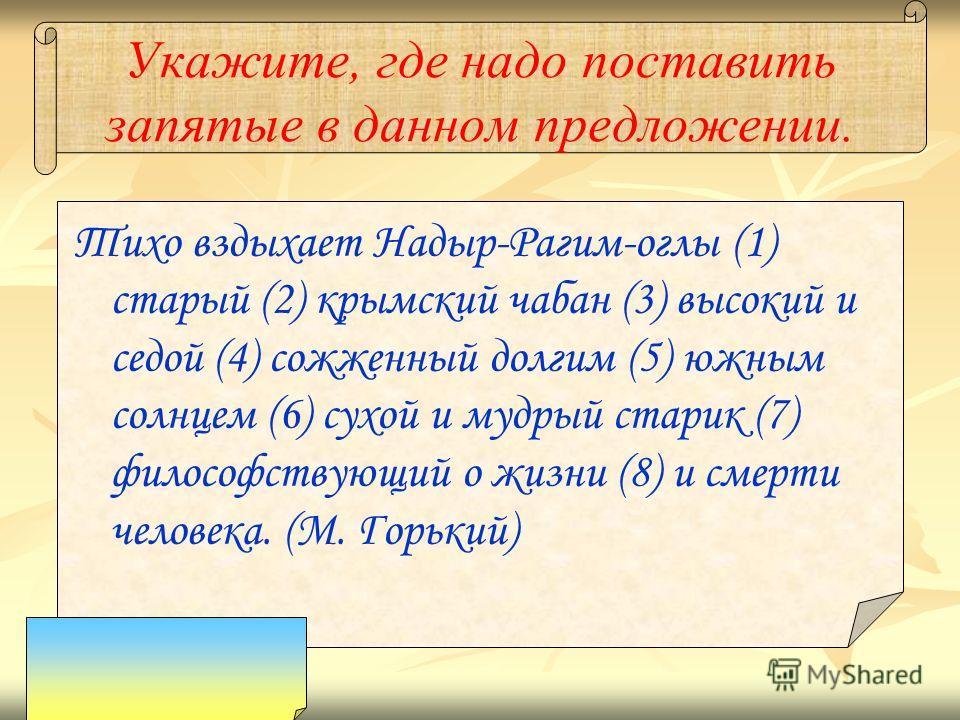 Укажите, где надо поставить запятые в данном предложении. Тихо вздыхает Надыр-Рагим-оглы (1) старый (2) крымский чабан (3) высокий и седой (4) сожженный долгим (5) южным солнцем (6) сухой и мудрый старик (7) философствующий о жизни (8) и смерти челов