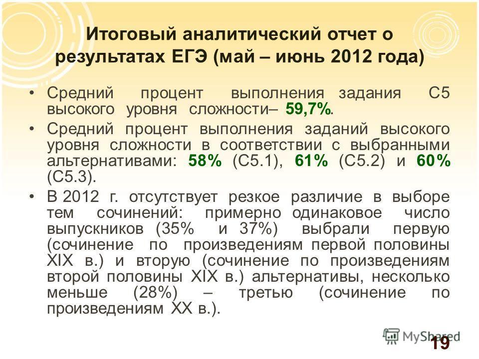 Итоговый аналитический отчет о результатах ЕГЭ (май – июнь 2012 года) Средний процент выполнения задания С5 высокого уровня сложности– 59,7%. Средний процент выполнения заданий высокого уровня сложности в соответствии с выбранными альтернативами: 58%