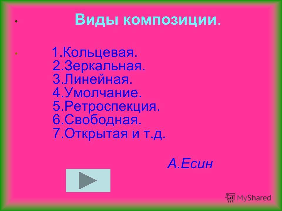 Виды композиции. 1.Кольцевая. 2.Зеркальная. 3.Линейная. 4.Умолчание. 5.Ретроспекция. 6.Свободная. 7. Открытая и т.д. А.Есин