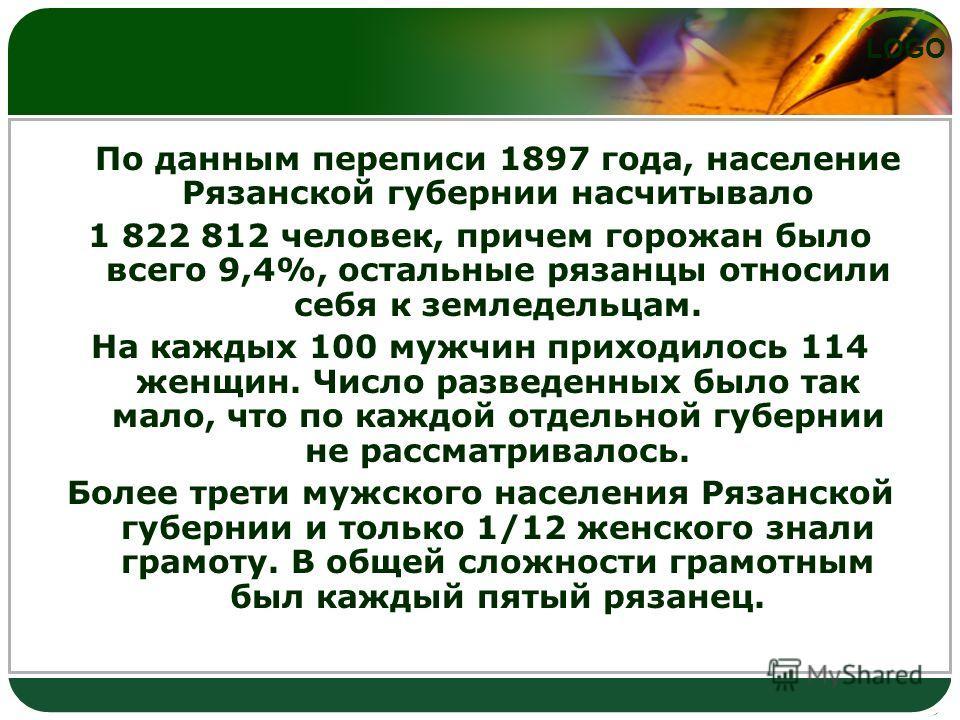 LOGO По данным переписи 1897 года, население Рязанской губернии насчитывало 1 822 812 человек, причем горожан было всего 9,4%, остальные рязанцы относили себя к земледельцам. На каждых 100 мужчин приходилось 114 женщин. Число разведенных было так мал