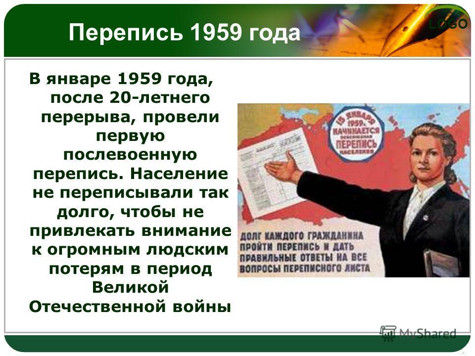 LOGO Перепись 1959 года В январе 1959 года, после 20-летнего перерыва, провели первую послевоенную перепись. Население не переписывали так долго, чтобы не привлекать внимание к огромным людским потерям в период Великой Отечественной войны