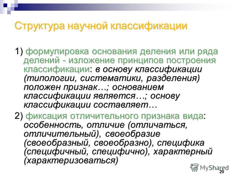 Структура научной классификации 1) формулировка основания деления или ряда делений - изложение принципов построения классификации: в основу классификации (типологии, систематики, разделения) положен признак…; основанием классификации является…; основ