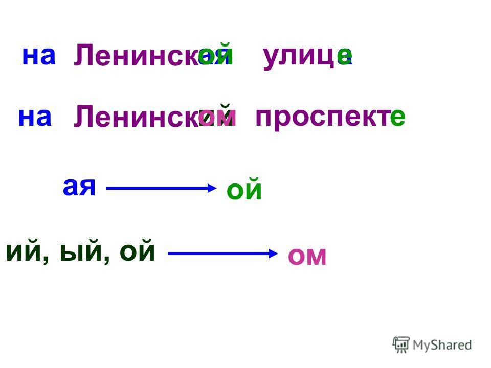Ленинск аяулица Ленинск ийпроспект наойе ая ой ий, ый, ой ом наоме
