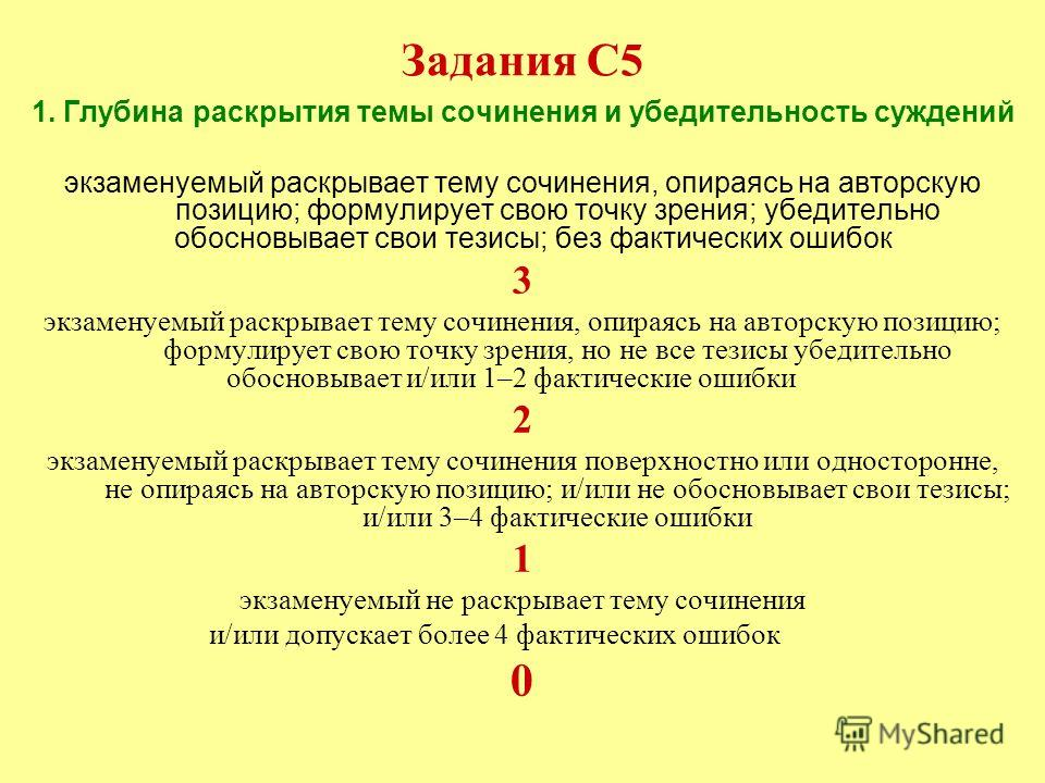 Задания С5 1. Глубина раскрытия темы сочинения и убедительность суждений экзаменуемый раскрывает тему сочинения, опираясь на авторскую позицию; формулирует свою точку зрения; убедительно обосновывает свои тезисы; без фактических ошибок 3 экзаменуемый