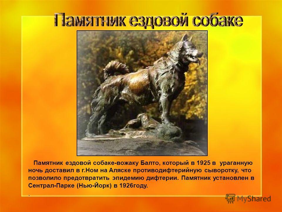 Памятник ездовой собаке-вожаку Балто, который в 1925 в ураганную ночь доставил в г.Ном на Аляске противодифтерийную сыворотку, что позволило предотвратить эпидемию дифтерии. Памятник установлен в Сентрал-Парке (Нью-Йорк) в 1926 году..