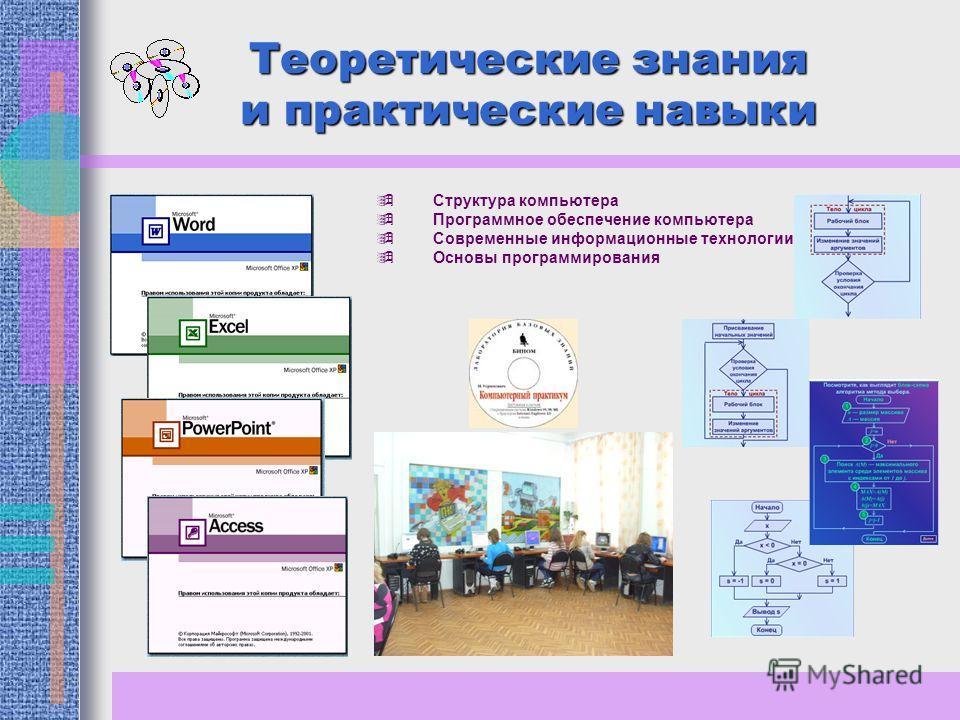 Теоретические знания и практические навыки Структура компьютера Программное обеспечение компьютера Современные информационные технологии Основы программирования