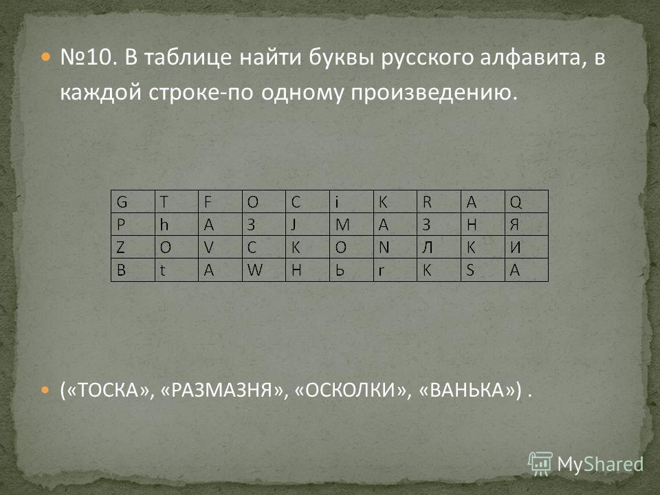 10. В таблице найти буквы русского алфавита, в каждой строке-по одному произведению. («ТОСКА», «РАЗМАЗНЯ», «ОСКОЛКИ», «ВАНЬКА»).