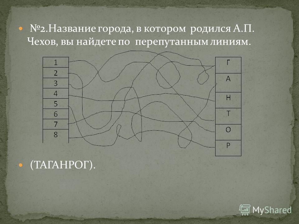 2. Название города, в котором родился А.П. Чехов, вы найдете по перепутанным линиям. (ТАГАНРОГ).