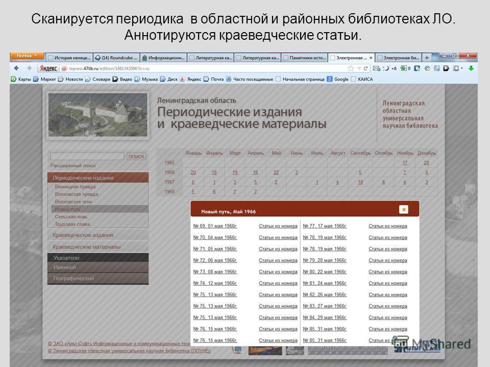 Сканируется периодика в областной и районных библиотеках ЛО. Аннотируются краеведческие статьи.