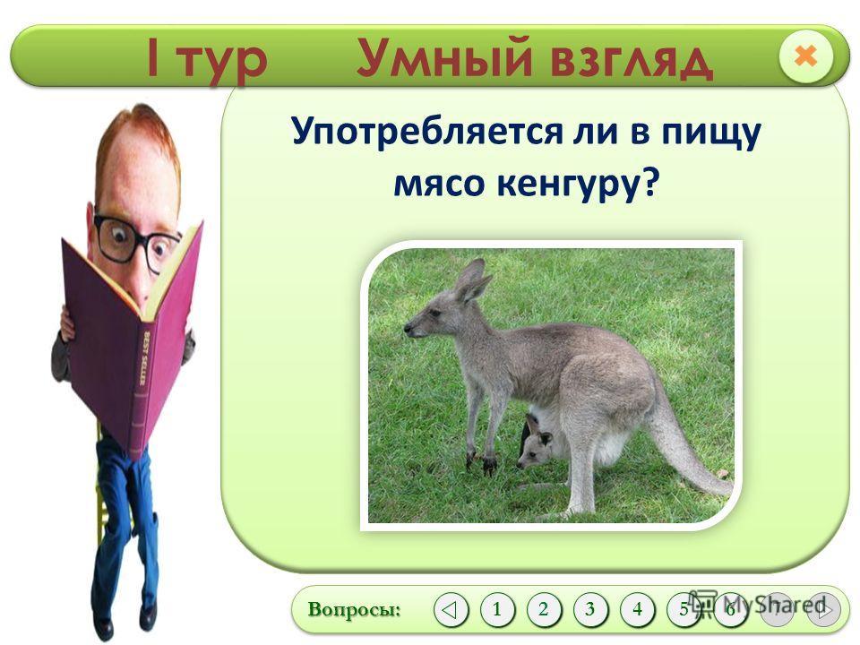 I тур Умный взгляд Вопросы:Вопросы: 1 124356 7 Употребляется ли в пищу мясо кенгуру?