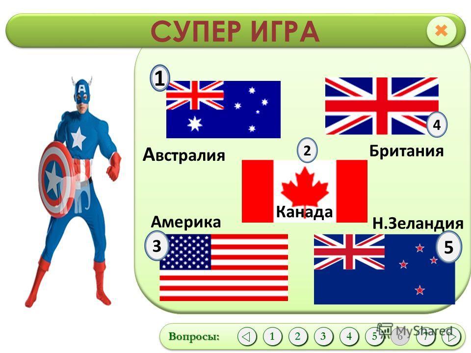 СУПЕР ИГРА Вопросы:Вопросы: 1 12435 6 7 1 А встралия Британия Канада Америка Н.Зеландия