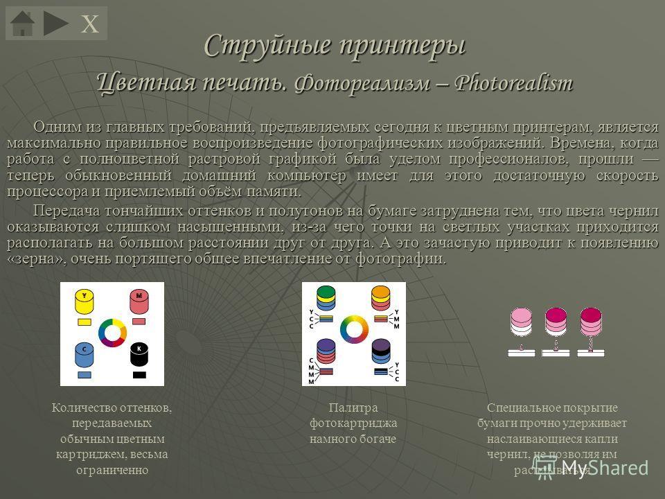 Струйные принтеры Цветная печать. Фотореализм – Photorealism Одним из главных требований, предъявляемых сегодня к цветным принтерам, является максимально правильное воспроизведение фотографических изображений. Времена, когда работа с полноцветной рас