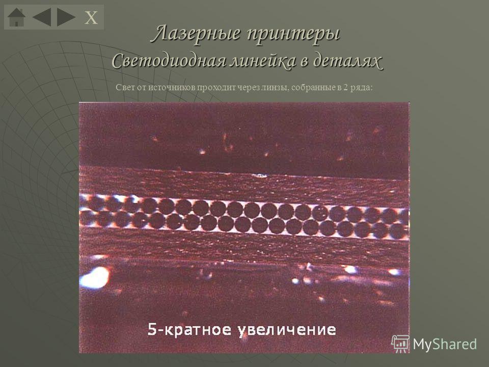 Лазерные принтеры Светодиодная линейка в деталях Свет от источников проходит через линзы, собранные в 2 ряда: Х