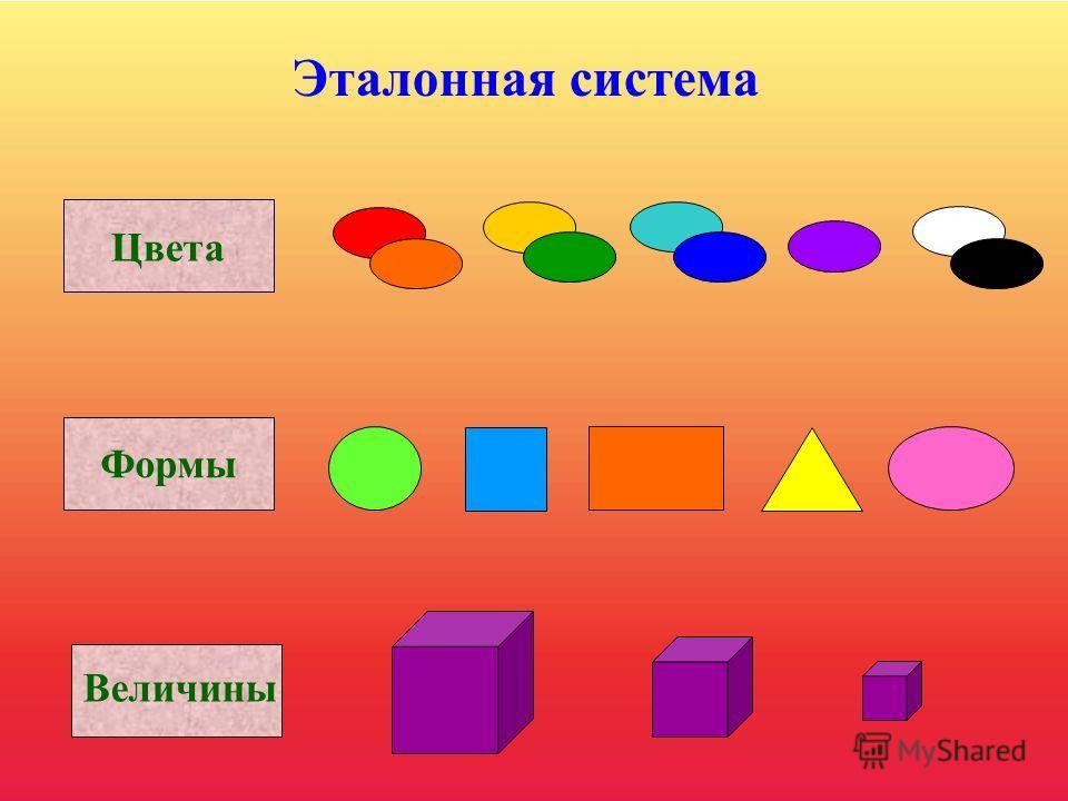 Эталонная система включает в себя Основные цвета спектра: красный, оранжевый, желтый, зеленый, голубой, синий, фиолетовый, черный, белый; Пять форм: круг, квадрат, прямоугольник, треугольник, овал; Три величины: большая, средняя, маленькая.