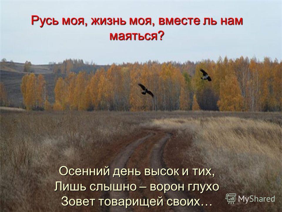 Русь моя, жизнь моя, вместе ль нам маяться? Осенний день высок и тих, Лишь слышно – ворон глухо Зовет товарищей своих…