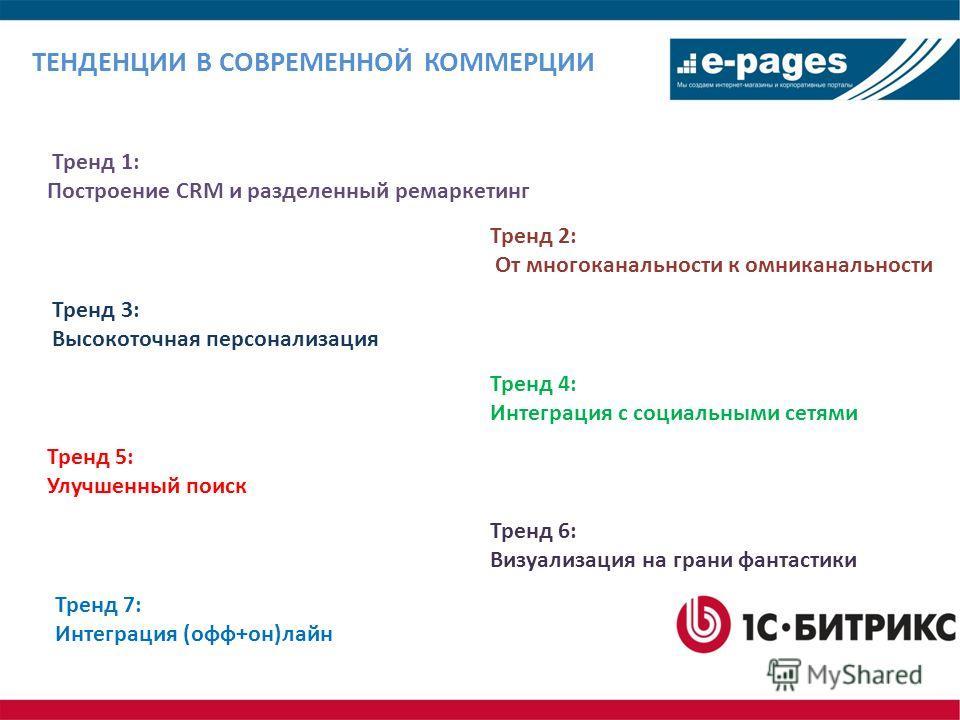 ТЕНДЕНЦИИ В СОВРЕМЕННОЙ КОММЕРЦИИ Тренд 1: Построение CRM и разделенный ремаркетинг Тренд 2: От многоканальности к омниканальности Тренд 3: Высокоточная персонализация Тренд 4: Интеграция с социальными сетями Тренд 5: Улучшенный поиск Тренд 6: Визуал