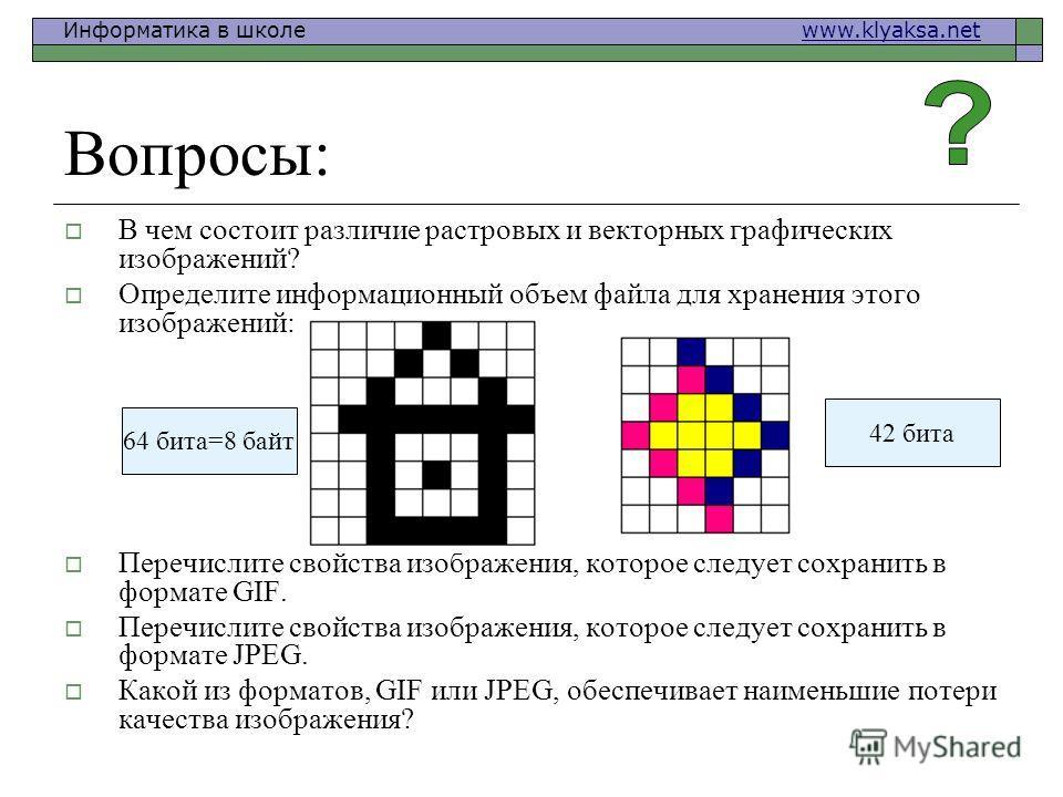 Информатика в школе www.klyaksa.netwww.klyaksa.net Вопросы: В чем состоит различие растровых и векторных графических изображений? Определите информационный объем файла для хранения этого изображений: Перечислите свойства изображения, которое следует