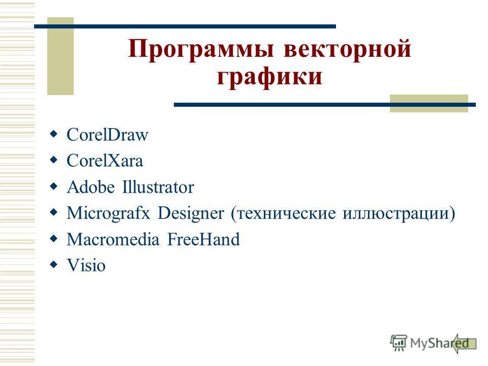 Программы векторной графики CorelDraw CorelXara Adobe Illustrator Micrografx Designer (технические иллюстрации) Macromedia FreeHand Visio
