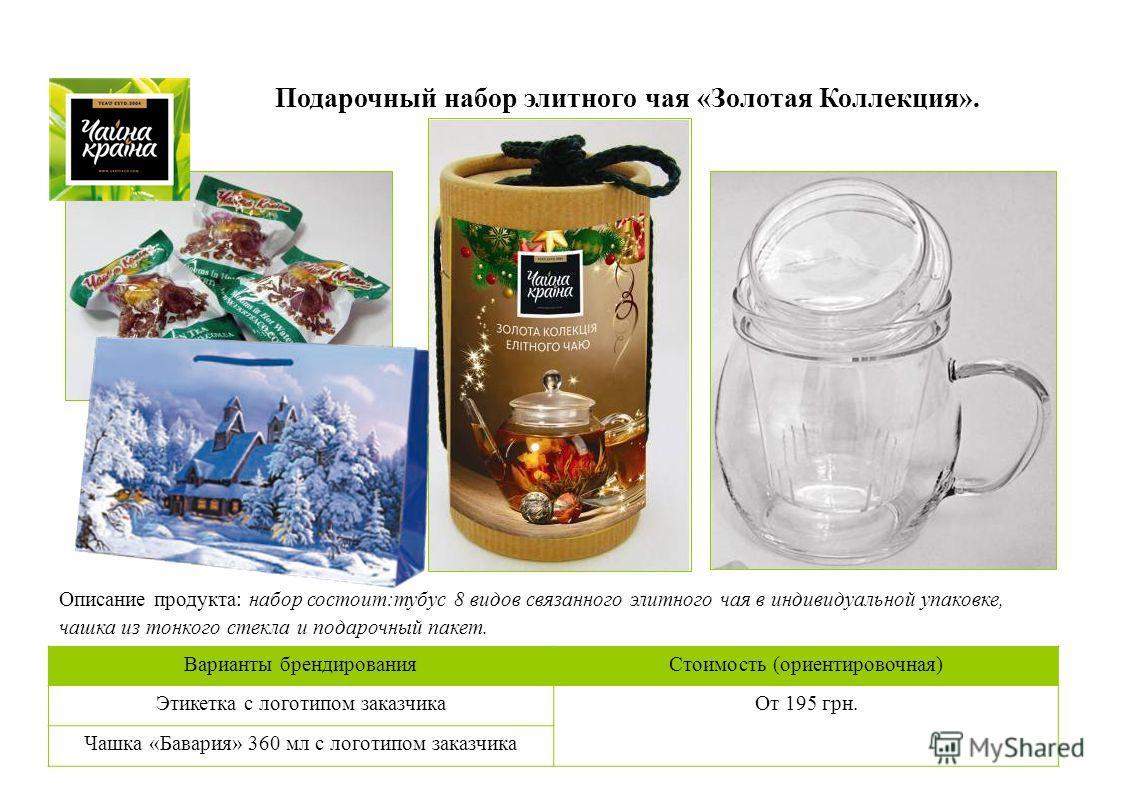 Подарочный набор элитного чая «Золотая Коллекция». Описание продукта: набор состоит:тубус 8 видов связанного элитного чая в индивидуальной упаковке, чашка из тонкого стекла и подарочный пакет. Варианты брендирования Стоимость (ориентировочная) Этикет