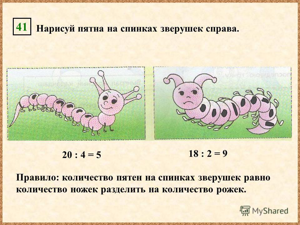 41 Нарисуй пятна на спинках зверушек справа. 18 : 2 = 9 Правило: количество пятен на спинках зверушек равно количество ножек разделить на количество рожек. 20 : 4 = 5
