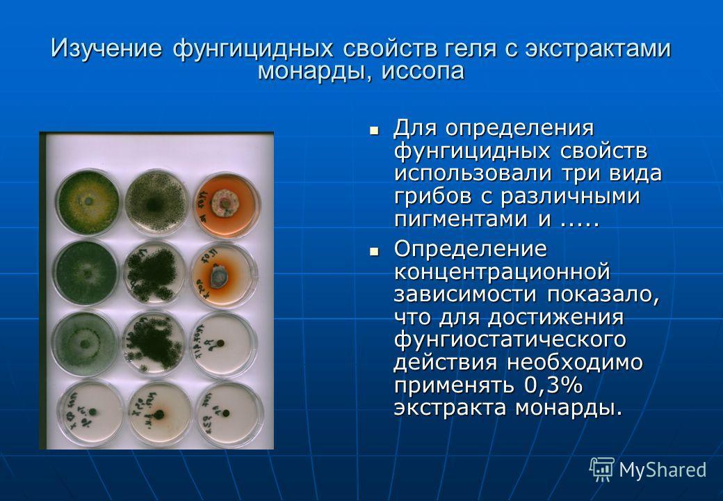 Изучение фунгицидных свойств геля с экстрактами монарды, иссопа Для определения фунгицидных свойств использовали три вида грибов с различными пигментами и..... Для определения фунгицидных свойств использовали три вида грибов с различными пигментами и