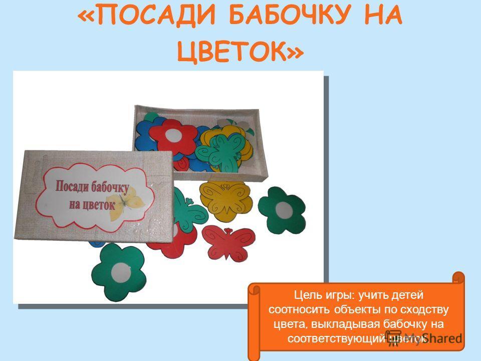 «ПОСАДИ БАБОЧКУ НА ЦВЕТОК» Цель игры : учить детей соотносить объекты по сходству цвета, выкладывая бабочку на соответствующий цветок.