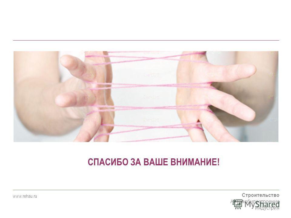 Строительство Автомобилестроение Индустрия www.rehau.ru СПАСИБО ЗА ВАШЕ ВНИМАНИЕ!