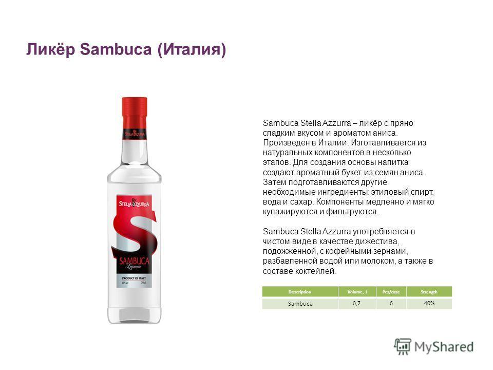 Ликёр Sambuca (Италия) DescriptionVolume, lPcs/caseStrength Sambuca 0,7640% Sambuca Stella Azzurra – ликёр с пряно сладким вкусом и ароматом аниса. Произведен в Италии. Изготавливается из натуральных компонентов в несколько этапов. Для создания основ