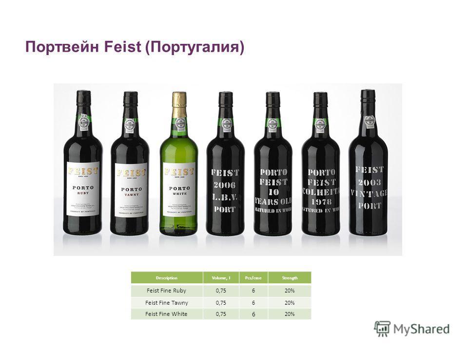 Портвейн Feist (Португалия) DescriptionVolume, lPcs/caseStrength Feist Fine Ruby 0,75620% Feist Fine Tawny 0,75620% Feist Fine White 0,75 6 20%
