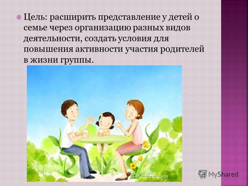 Цель: расширить представление у детей о семье через организацию разных видов деятельности, создать условия для повышения активности участия родителей в жизни группы.