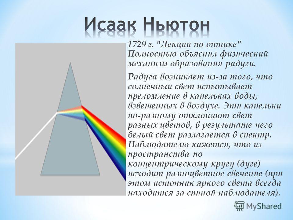 Рене Декарт (фр. философ, математик, физик и физиолог) 1637 г. Создал теорию радуги. Продолжил учение Доминико и правильно показал, почему угол близок к 420, объяснил возникновение дополнительной радуги (рис. 1 в). Лучи, отраженные в точках А и В, не