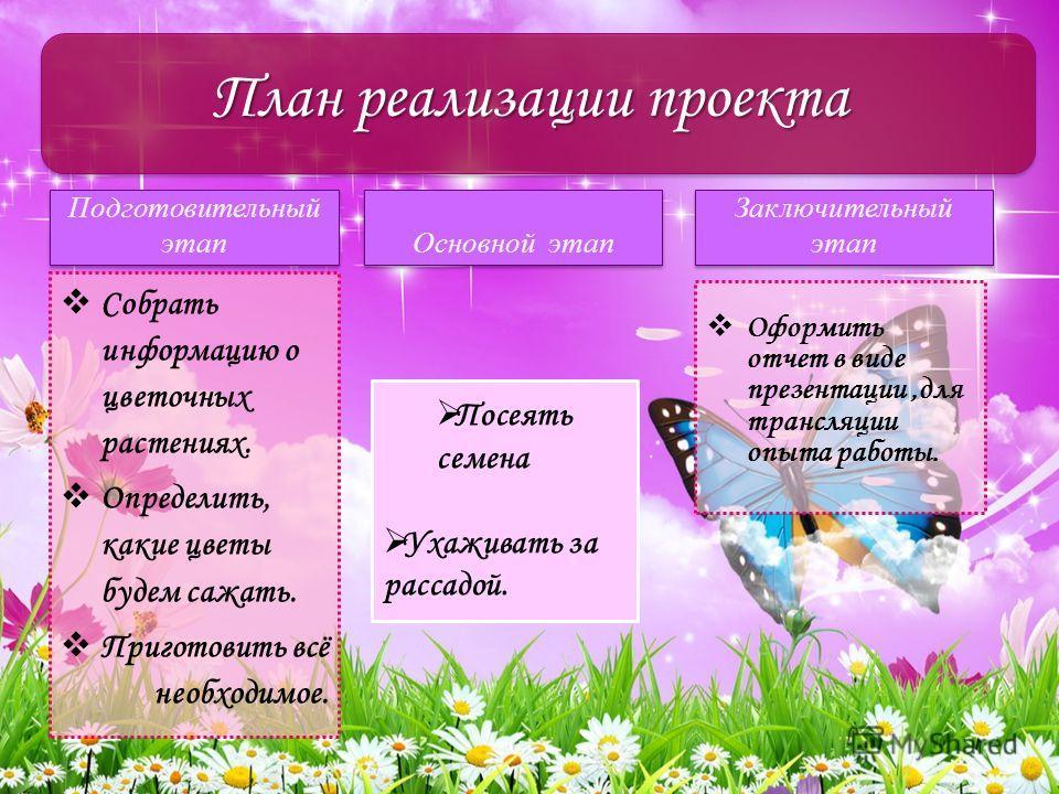 Подготовительный этап Собрать информацию о цветочных растениях. Определить, какие цветы будем сажать. Приготовить всё необходимое. Основной этап Оформить отчет в виде презентации,для трансляции опыта работы. План реализации проекта Заключительный эта