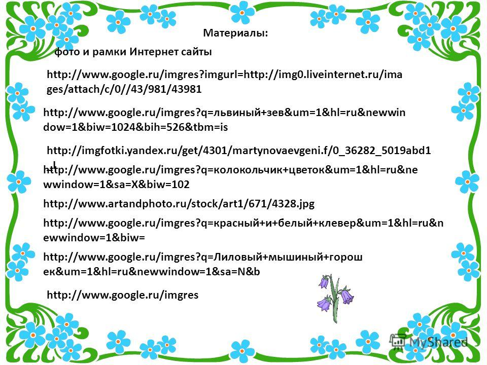 http://www.google.ru/imgres?q=Лиловый+мышиный+горош ек&um=1&hl=ru&newwindow=1&sa=N&b http://imgfotki.yandex.ru/get/4301/martynovaevgeni.f/0_36282_5019abd1 _L http://www.google.ru/imgres?q=львиный+зев&um=1&hl=ru&newwin dow=1&biw=1024&bih=526&tbm=is ht