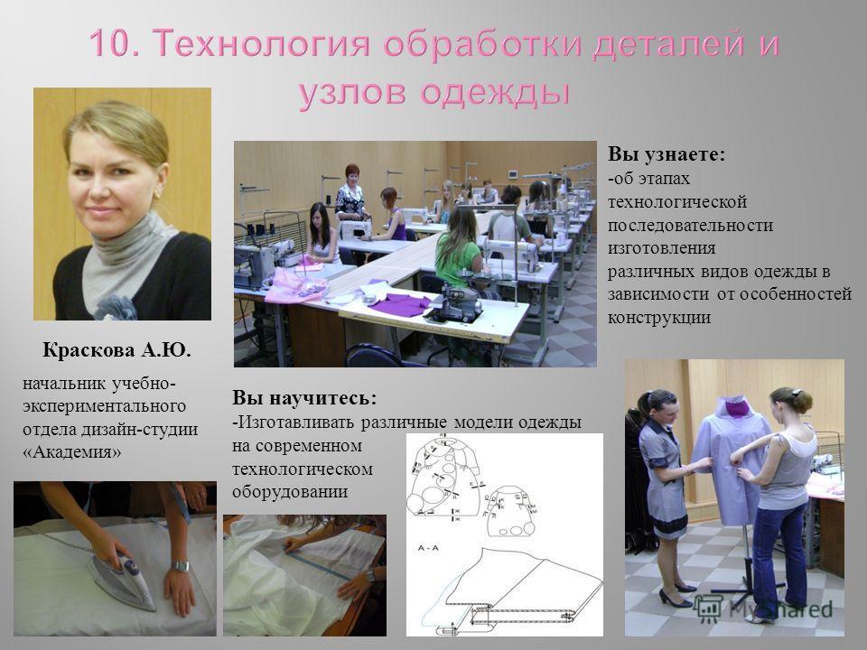 начальник учебно - экспериментального отдела дизайн - студии « Академия » Краскова А. Ю. Вы узнаете : -об этапах технологической последовательности изготовления различных видов одежды в зависимости от особенностей конструкции Вы научитесь : -Изготавл